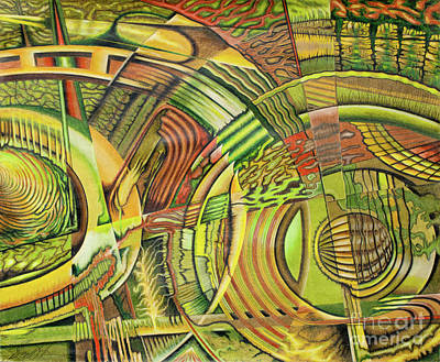 Colored Pencil Abstract Drawing - Organical Mechanical by Scott Brennan
