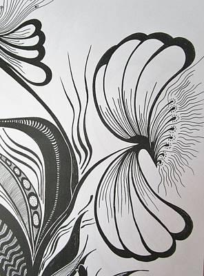 Stamen Drawing - Organza Bloom by Rosita Larsson