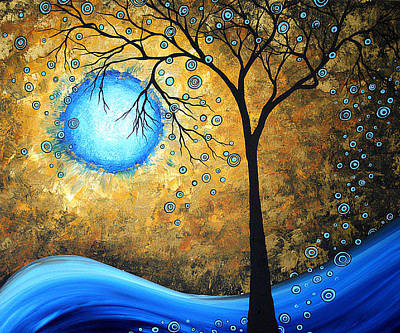 Modern Tree Painting - Orginal Abstract Landscape Painting Blue Fire By Madart by Megan Duncanson