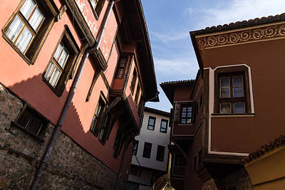 Photograph - Oriel Windows Galore - Revival Houses In Old Town Plovdiv Bulgaria by Georgia Mizuleva