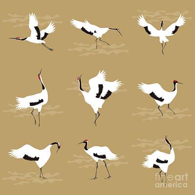 Repeat Digital Art - Oriental Cranes by Claire Huntley