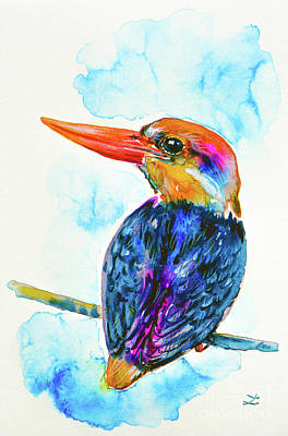 Kingfisher Painting - Oriental Dwarf Kingfisher by Zaira Dzhaubaeva
