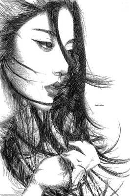Digital Art - Oriental Female Sketch by Rafael Salazar