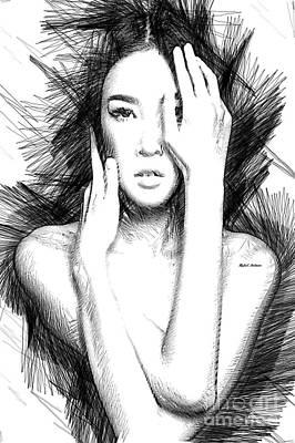 Digital Art - Oriental Figure Sketch by Rafael Salazar