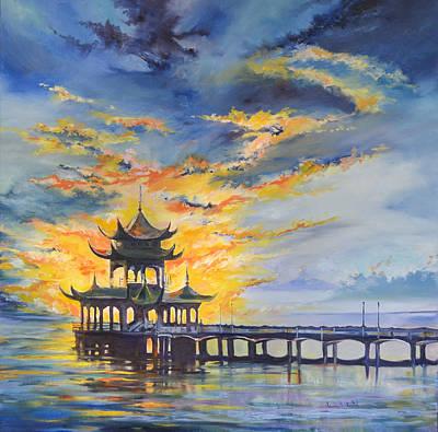 Oriental Bridges Painting - Oriental Fire. China by Ksenia VanderHoff