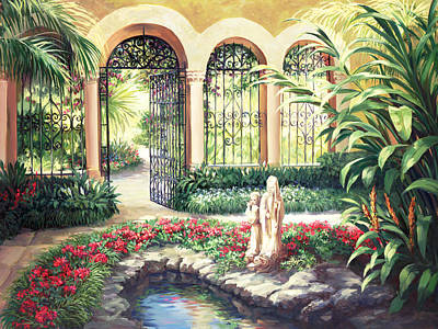Warm Colors Painting - Oriental Garden by Laurie Hein