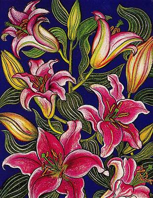 Pastel - Oriental Lilies by Richard Lee