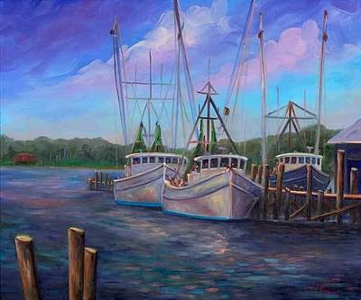 Shrimper Painting - Oriental Nc Harbor And Marina by Jeff Pittman