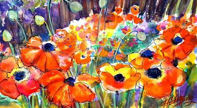 Painting - Oriental Poppies Behind Lindas by Therese Fowler-Bailey