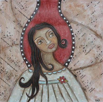 Christian Art . Devotional Art Painting - Orifiel by Rain Ririn