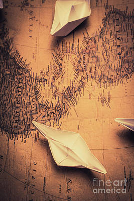 Origami Boats On World Map Art Print