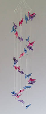 Art Mobile Mixed Media - Origami Butterfly Spiral Mobile  1622 by Karen Celella