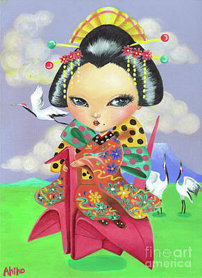 Painting - Origami Girl by Akiko Okabe