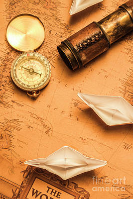 Nautical Chart Photograph - Origami Paper Boats On A Voyage Of Exploration by Jorgo Photography - Wall Art Gallery
