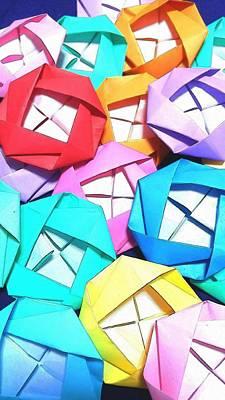 Color Digital Art - Origami Roses by Kumiko Izumi