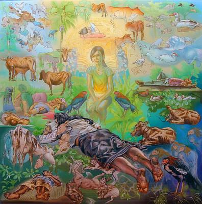 Farmanimals Painting - Origin Of The Goddess by Simon Drost