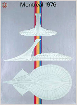 Canadian Sports Drawing - Origina 1976 Montreal Olympics Stadium Poster by COJO Official Olympic Organizing Committee