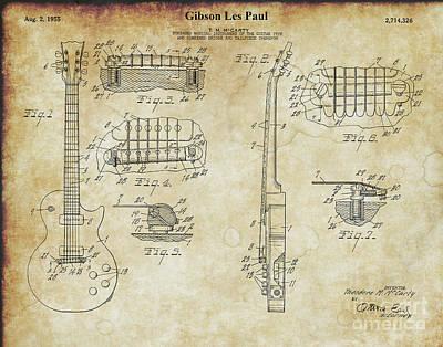 Photograph - Original 1955 Gibson Les Paul Patent  by Doc Braham