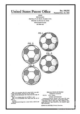 Mixed Media - Original 1964 Vintage Soccer Ball Patent  by Doc Braham