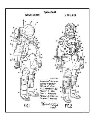 Photograph - Original 1973 Space Suit Patent by Doc Braham