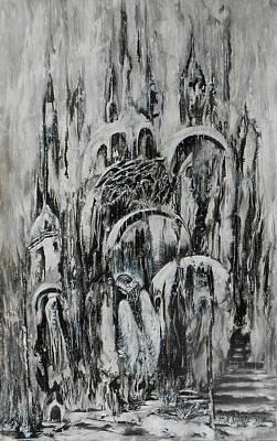 Original Abstract Black And White Painting The Return Of The Angel  Art Print by Natalya Zhdanova