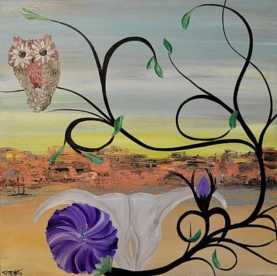 Painting - Original Acrylic Artwork By Mimi Stirn - Hoomasters Collection -hooo'keeffe #415 by MiMi  Stirn