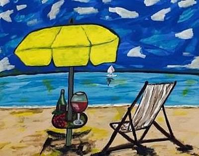Painting - Original Acrylic Painting On Canvas. Beach Painting by Jonathon Hansen