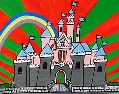 Painting - Original Acrylic Painting On Canvas. Disneyland Sleeping Beauty Castle by Jonathon Hansen