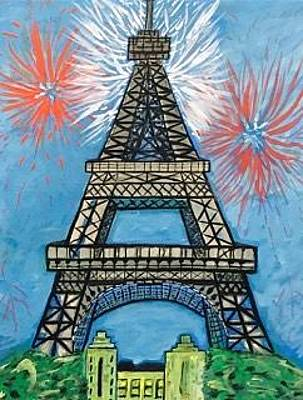 Painting - Original Acrylic Painting On Canvas. Eiffel Tower Paris France. by Jonathon Hansen
