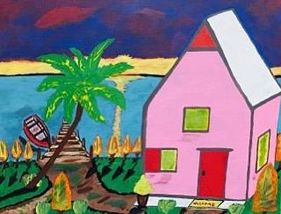 Painting - Original Acrylic Painting On Canvas. Florida Vacation Cottage. by Jonathon Hansen