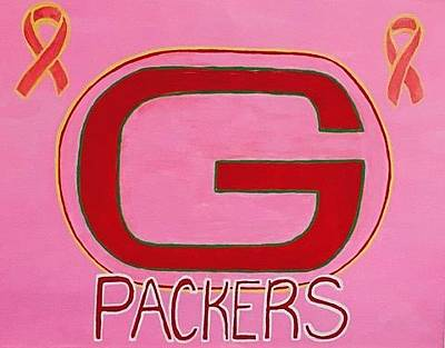 Painting - Original Acrylic Painting On Canvas. Green Bay Packers Pink Awareness For Breast Cancer Cure by Jonathon Hansen