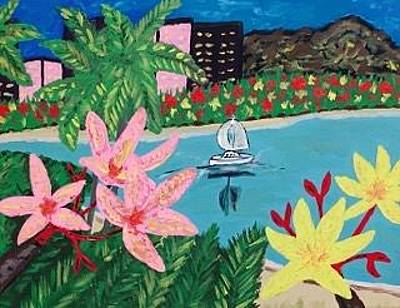 Painting - Original Acrylic Painting On Canvas. Hawaii Beach Resort Painting by Jonathon Hansen