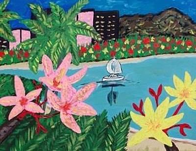 Painting - Original Acrylic Painting On Canvas. Hawaii Beach Resort Painting by Jonathon Hansen