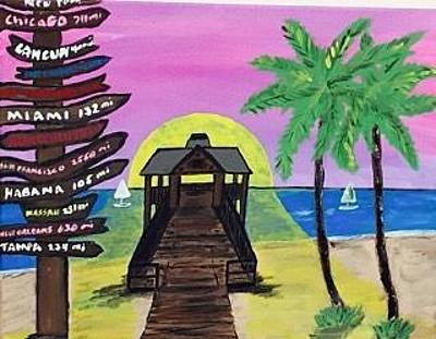 Painting - Original Acrylic Painting On Canvas. Key West Florida Beach Painting by Jonathon Hansen