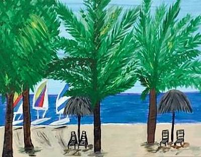 Painting - Original Acrylic Painting On Canvas. Marco Island Florida Beach. by Jonathon Hansen
