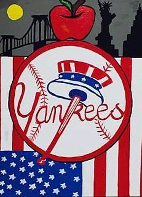 Painting - Original Acrylic Painting On Canvas. New York Yankees Painting. by Jonathon Hansen