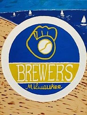 Painting - Original Acrylic Painting On Canvas Wall Art. Milwaukee Brewers by Jonathon Hansen