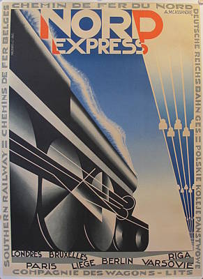 Original Art Deco Poster Nord Express By A M Cassandre Original by Adolphe Mouron Cassandre