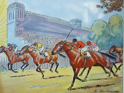 Original Art Deco Tiffon Horse Racing Calendar And Carton Original by Anonymous