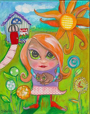 Painting - Original Art Girl And The Cat -with Flowers by Shelley Overton