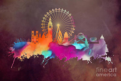London Skyline Digital Art - Original art London skyline by Justyna JBJart