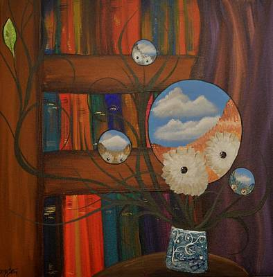 Painting - Original Artwork By Mimi Stirn - Hoomasters Collection - Hoo Magritte #411 by MiMi  Stirn