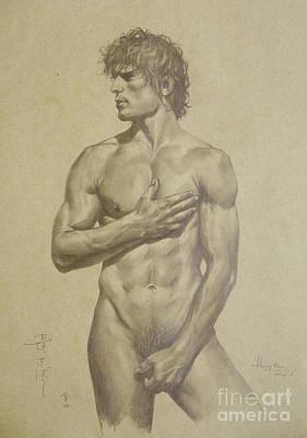 Original Artwork Drawing Sketch Male Nude Man On Brown Paper#16-6-16-03 Art Print by Hongtao Huang