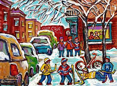 Painting - Original Artwork For Sale Wilensky Diner Hockey Game Montreal Winter City Scene C Spandau Painting by Carole Spandau