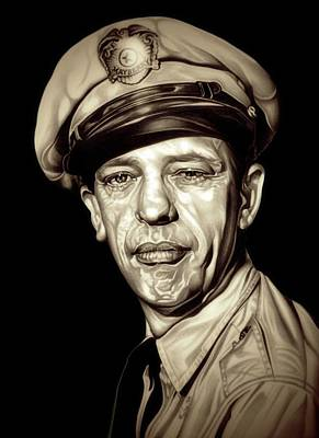 Don Knotts Drawing - Original Barney Fife by Fred Larucci