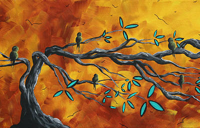 Original Bird Landscape Art Contemporary Painting After The Storm II By Madart Art Print by Megan Duncanson