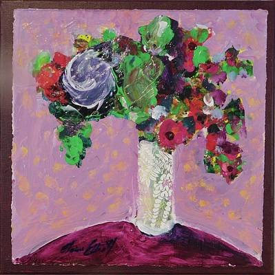 Original Bouquetaday Floral Painting 12x12 On Canvas, By Elaine Elliott, 59.00 Incl. Shipping Art Print by Elaine Elliott