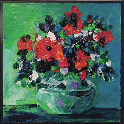 Painting - Original Bouquetaday Floral Painting By Elaine Elliott, Blues And Greens, 12x12, 59.00 Incl. Shippin by Elaine Elliott