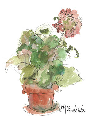 Painting - Original Buspaintings Geranium Watercolor Painting By Kathleen Mcelwaine by Kathleen McElwaine