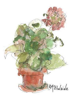 Original Buspaintings Geranium Watercolor Painting By Kathleen Mcelwaine Art Print